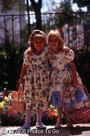 Young girls dressed up for Easter